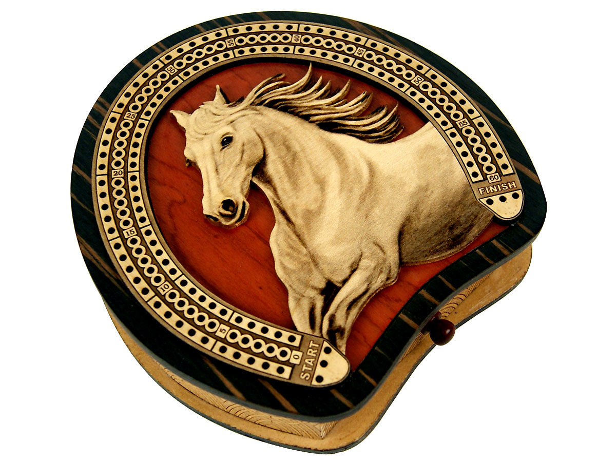 Side view of horse shoe shape cribbage board with horse figure inlaid