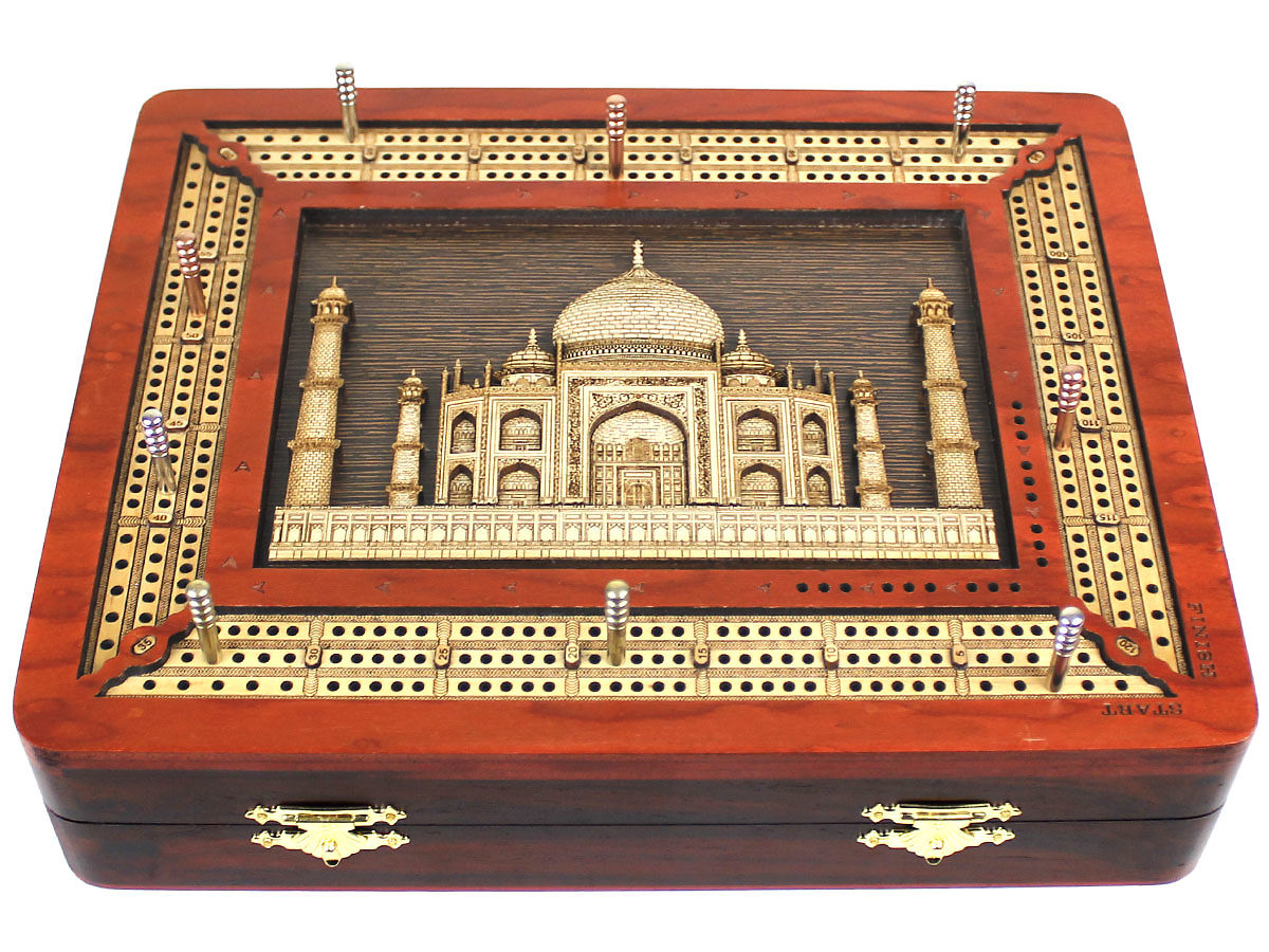Taj Mahal 3D Image Wooden Carved inlaid on Cribbage Board
