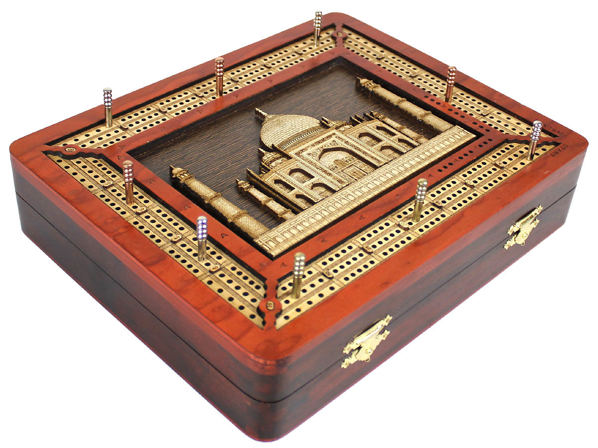 3 Track continuous cribbage board with Taj Mahal 3D image inlaid