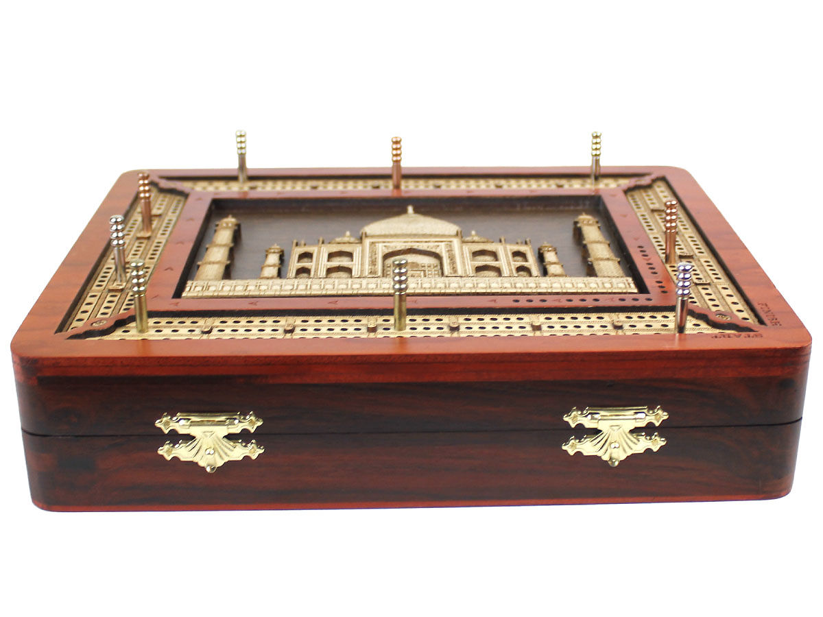 Grooved down tracks and inlaid Taj Mahal image on bloodwood cribbage board box