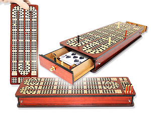 Magnetic Cribbage Board Continuous 3 Tracks Inlaid Bloodwood/Maple with Drawers & place to mark won games