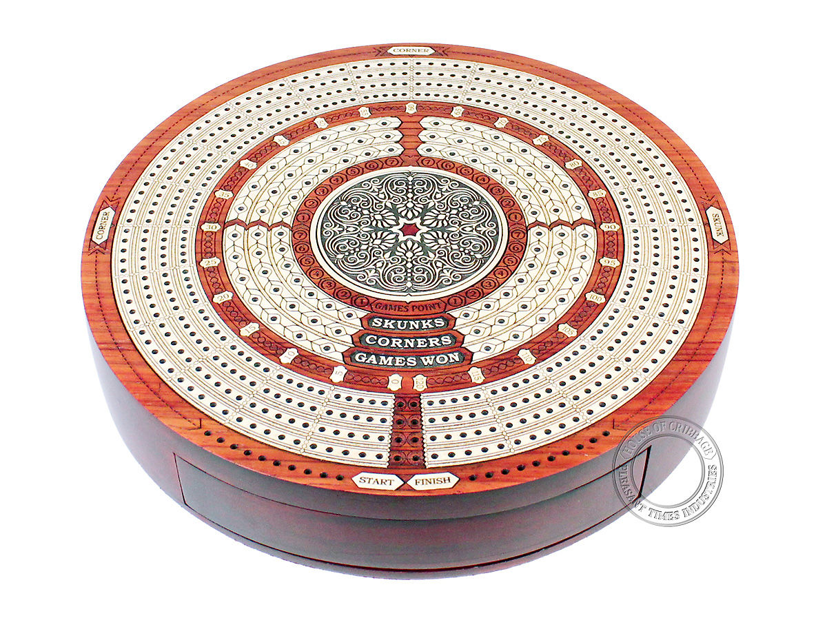 Round Cribbage Board with drawers closed