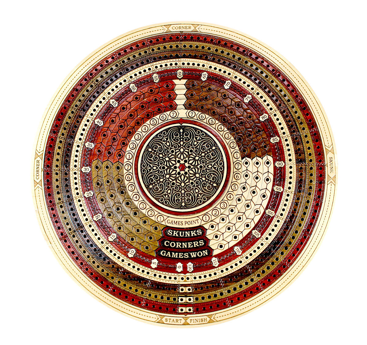 Top view of 3d multi layers round cribbage board with inlaid 4 tracks