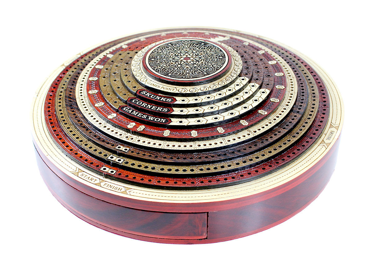 4 track 3d multi layers cribbage board inlaid with different woods