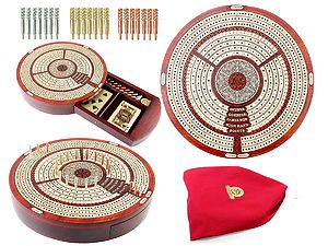 "10"" Round Shape 3 Tracks Continuous Cribbage Board and box in Bloodwood / Maple with Score marking fields for Skunks, Corners, Won Games, High Hand and Points"