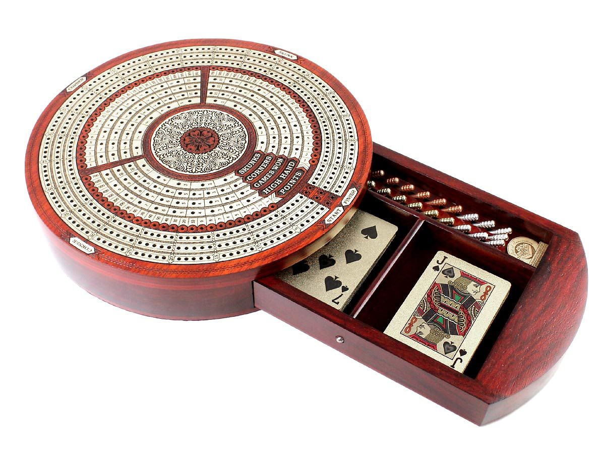 Round Shape cribbage board - drawer open with cards and pegs