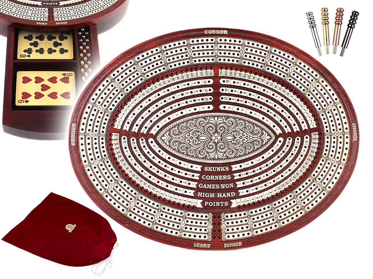 Oval Shape 4 Tracks Continuous Cribbage Board with Storage Drawer (Size 11.6 x 9