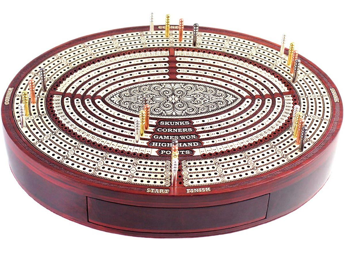 Oval Cribbage Board with Score Board for Skunks, Corners, Games Won, High Hands and Points