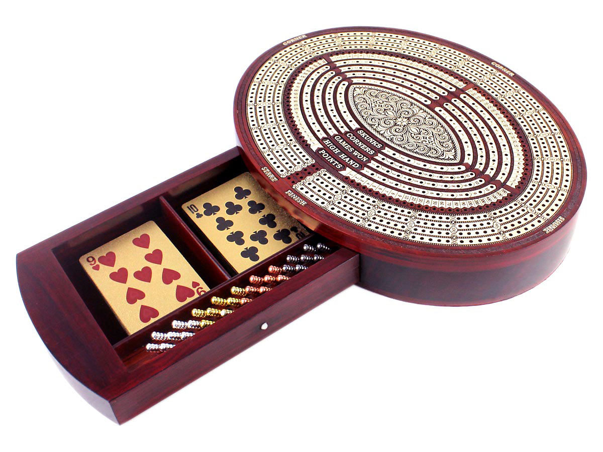Oval Shape Cribbage Board with Storage Drawer for 2 Decks of Cards and 28 Crib Pegs