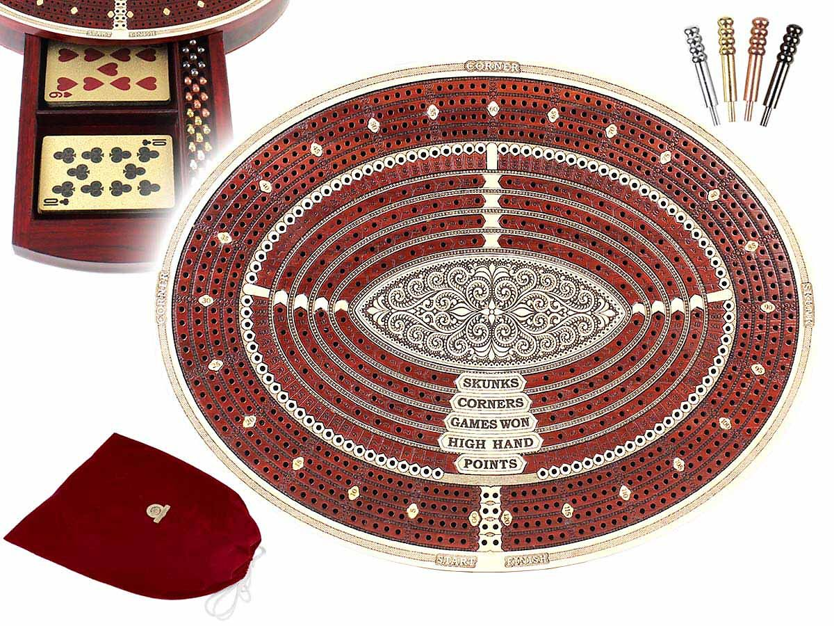 Oval Shape Continuous Cribbage Board 4 Tracks