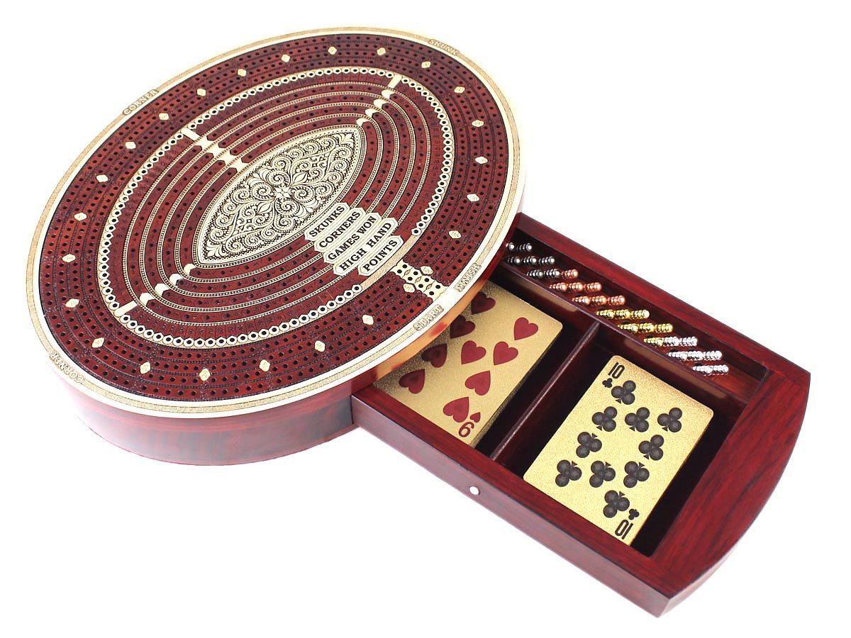 Continuous Cribbage Board Oval Shape with storage drawer