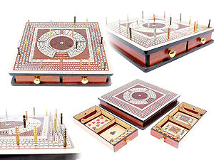 Square Shape 4 Tracks Continuous Cribbage Board Maple Wood/ Bloodwood with Pull Drawer & place for Skunks, Corners & Won Games