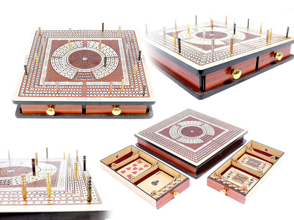 Squre shape 4 tracks cribbage board inlaid with maple wood / bloodwood with two pull drawers
