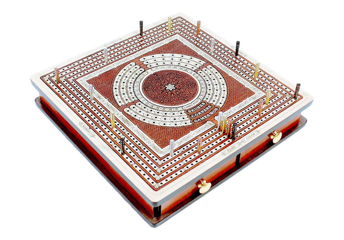 Four tracks continuous cribbage board with drawers closed