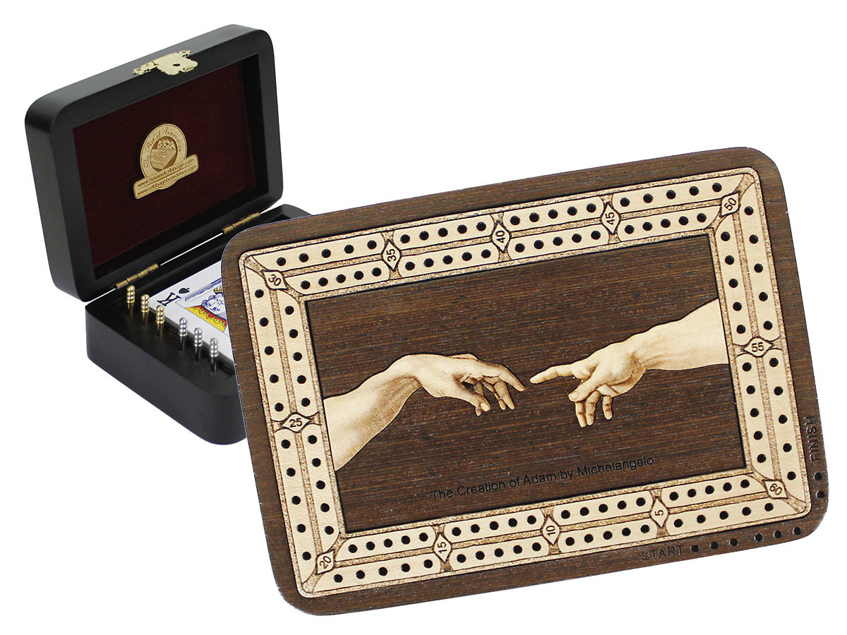 The Creation of Adam by Michelangelo Image Inlaid Folding Cribbage Board / Box with card storage