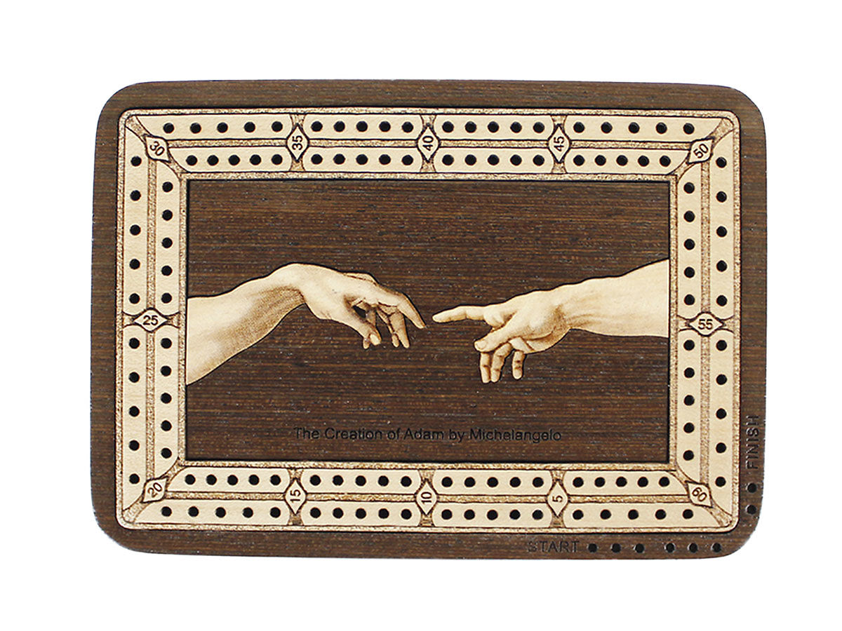 Top View of The Creation of Adam by Michelangelo image inlaid board with tracks