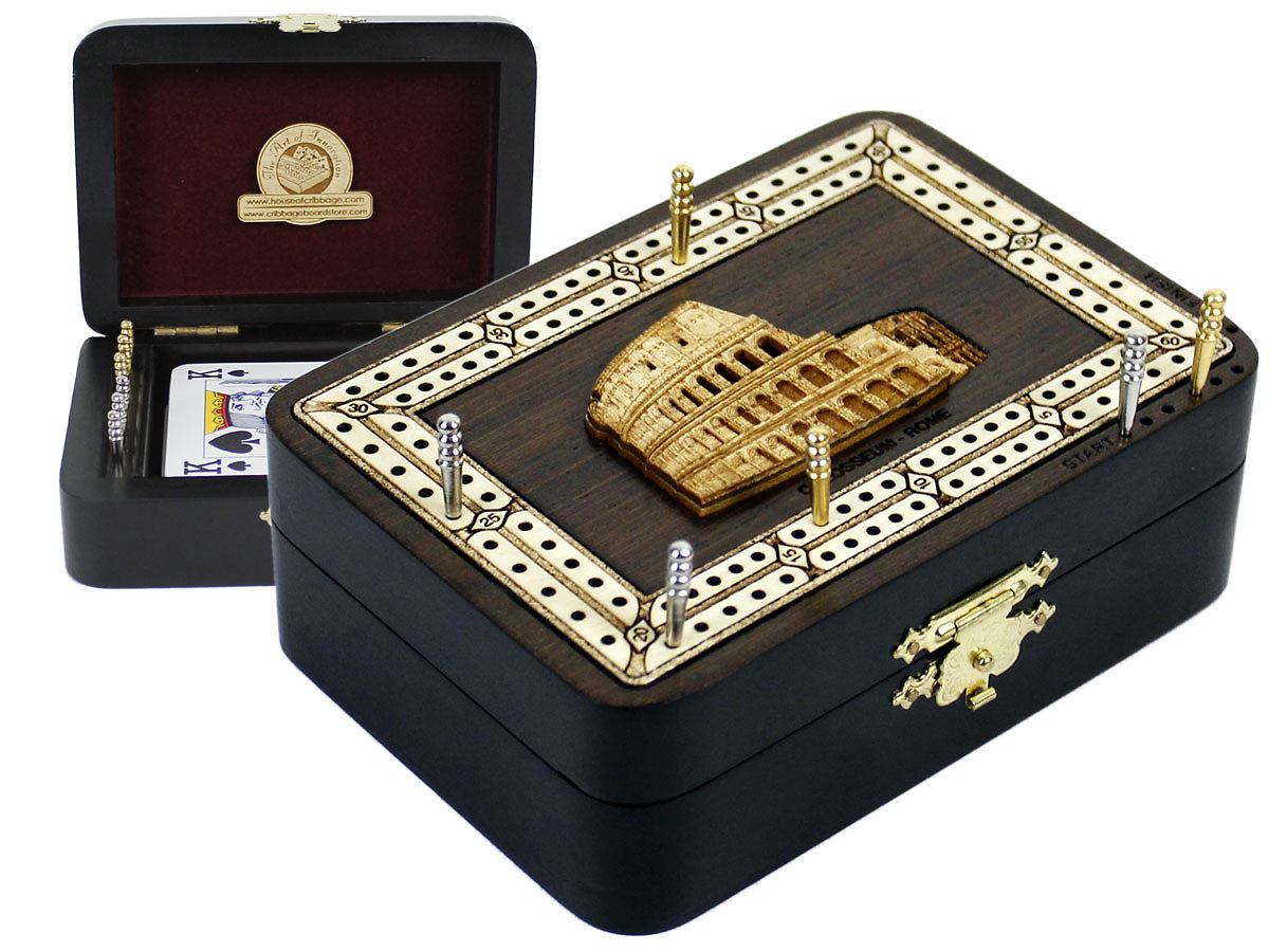 Colosseum Image Inlaid Folding Cribbage Board / Box with card storage
