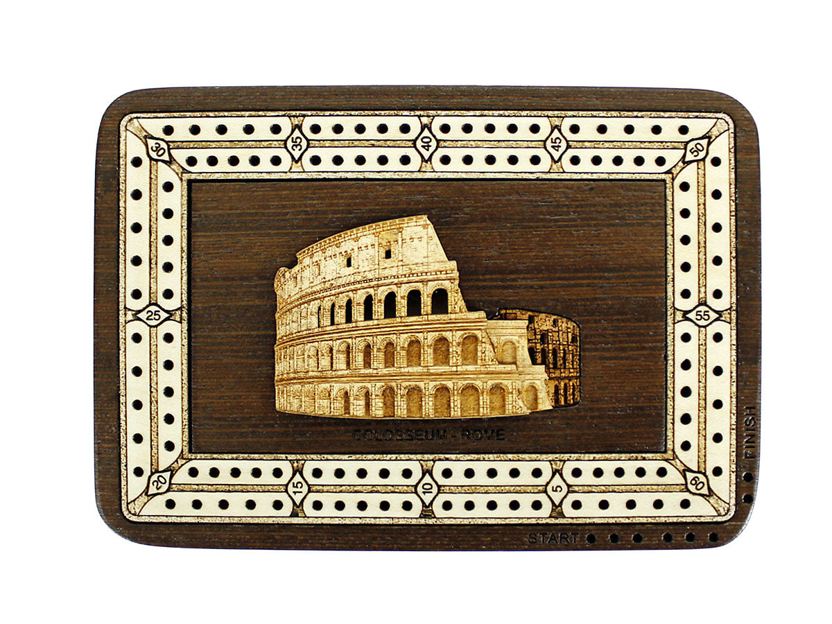 Top view of Colosseum image inlaid board with tracks