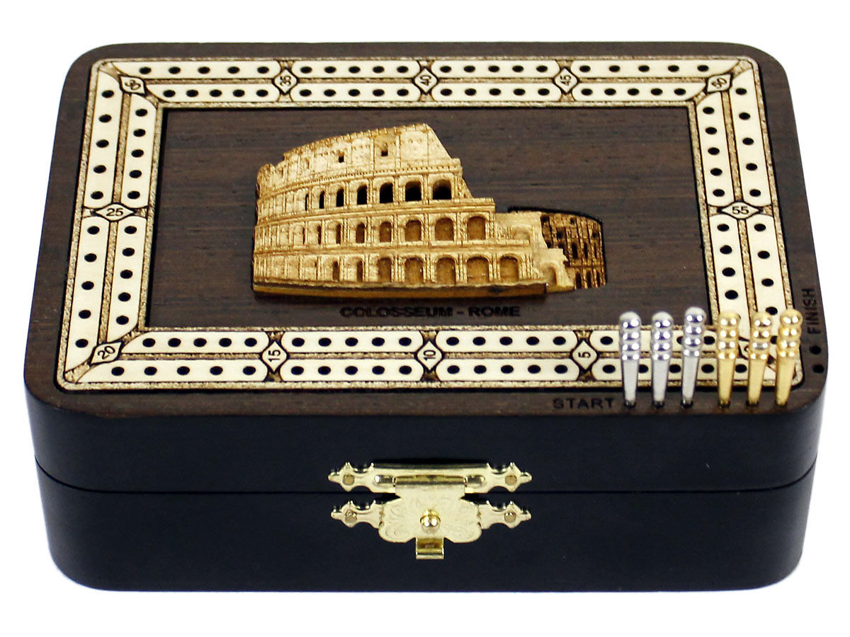 Front view of Colosseum image inlaid board with tracks