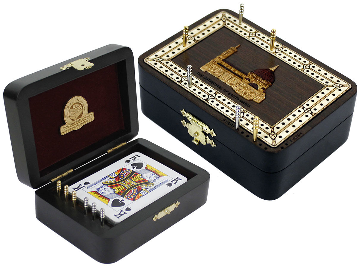 The Cathedral of Santa Maria Image Inlaid Folding Cribbage Board / Box with card storage