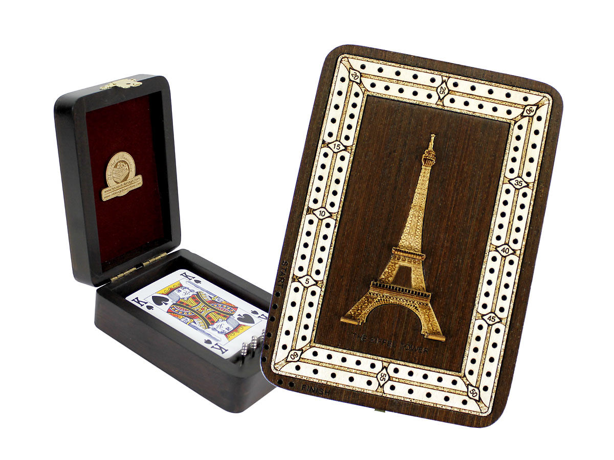 The Eiffel Tower Image Inlaid Folding Cribbage Board / Box with card storage