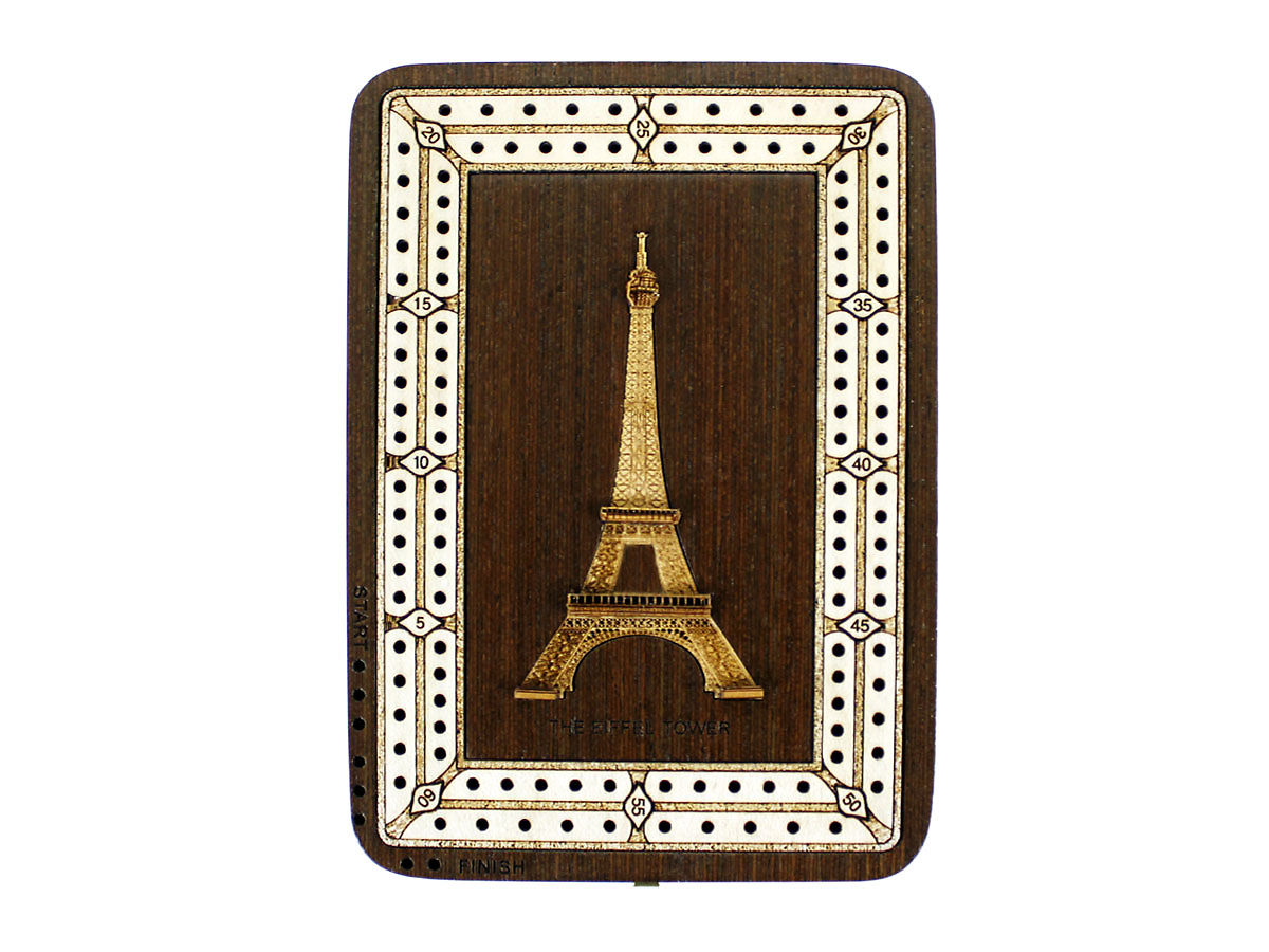 Top view of The Eiffel Tower image inlaid board with tracks