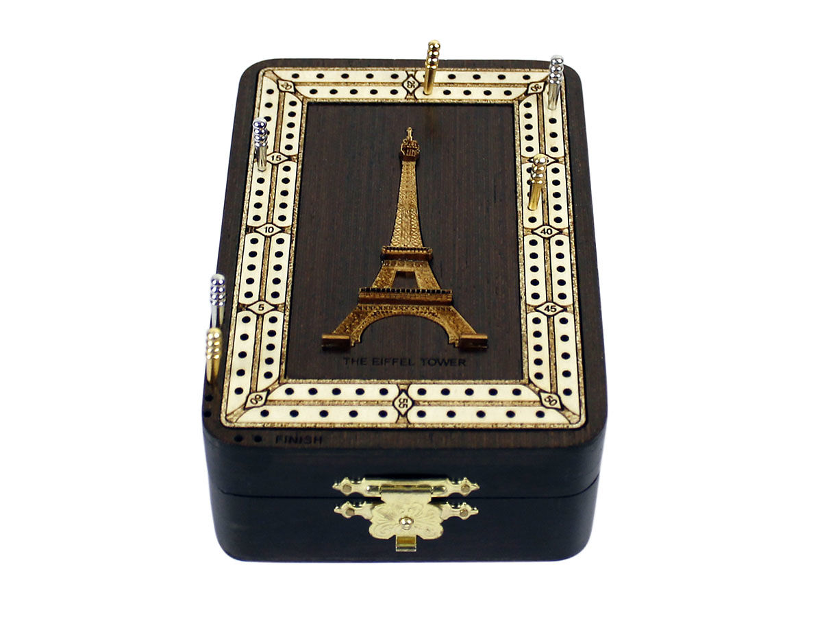 Front view of The Eiffel Tower image inlaid board with tracks
