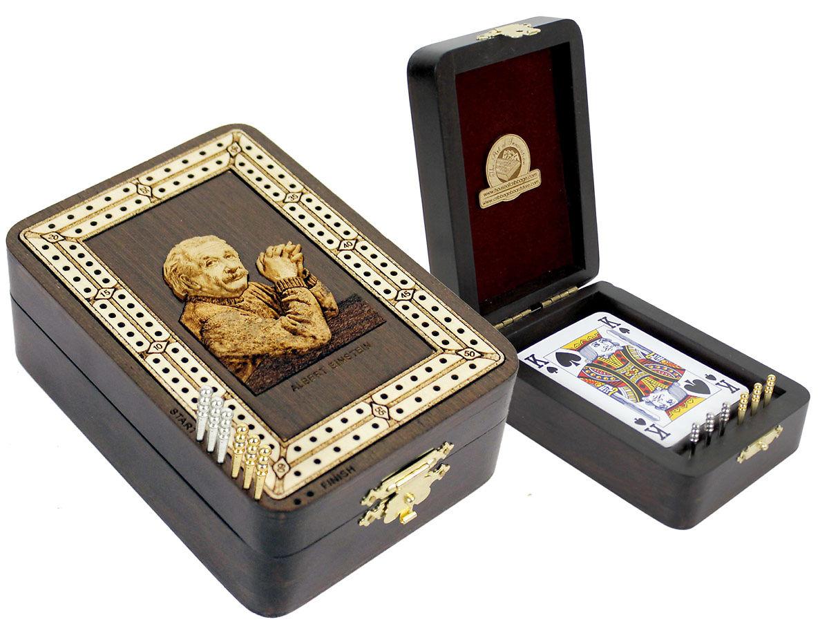 Einstein Image Inlaid Folding Cribbage Board / Box with card storage