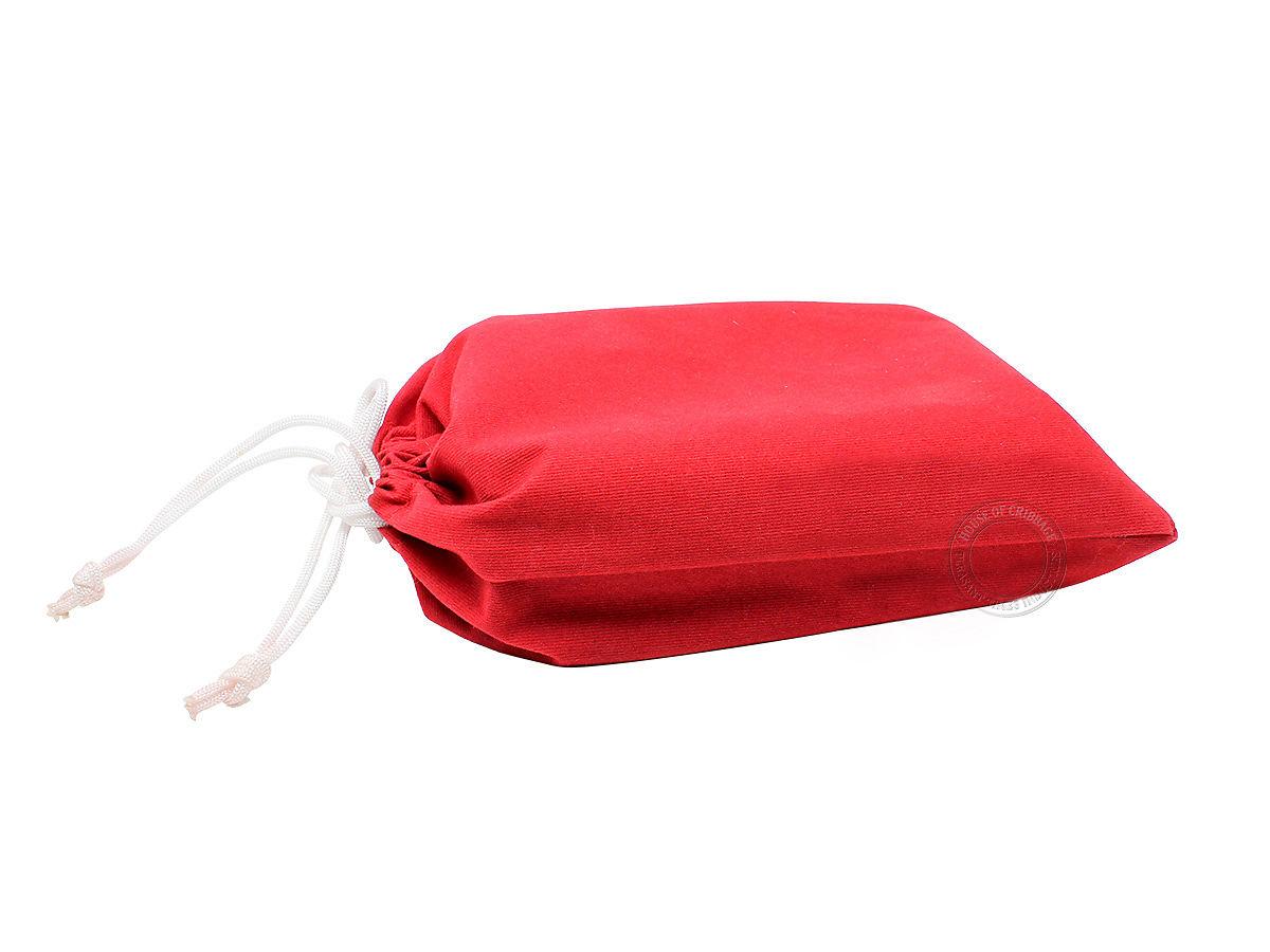 Maroon velvet pouch for cribbage board