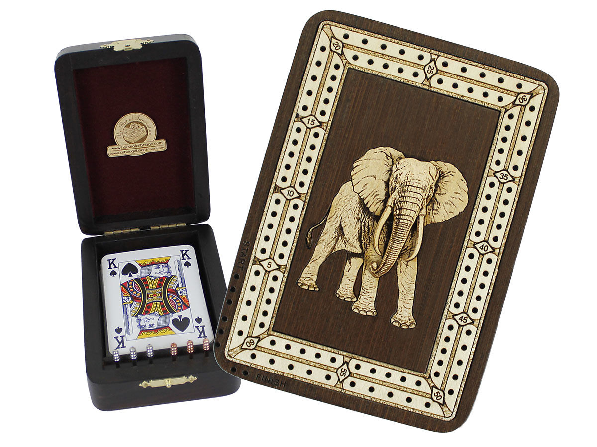 Elephant Image Inlaid Folding Cribbage Board / Box with card storage