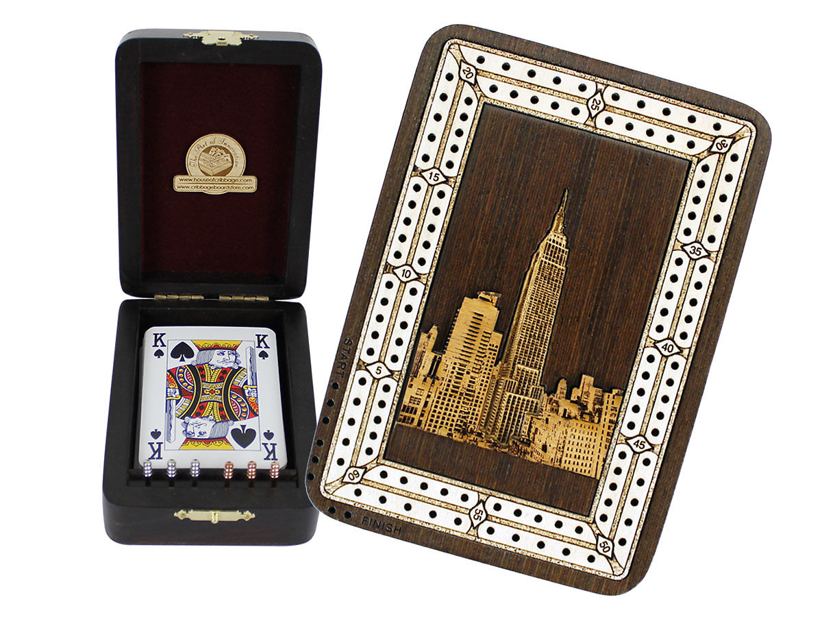 Empire State Building Image Inlaid Folding Cribbage Board / Box with card storage