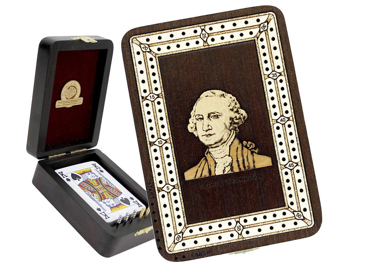 George Washington Image Inlaid Folding Cribbage Board / Box with card storage
