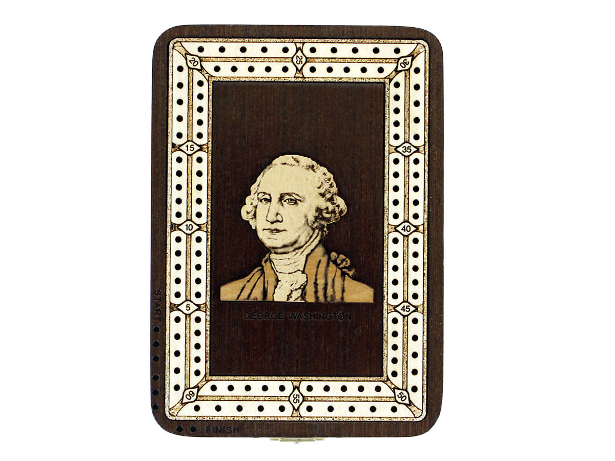Front view of George Washington image inlaid board with tracks
