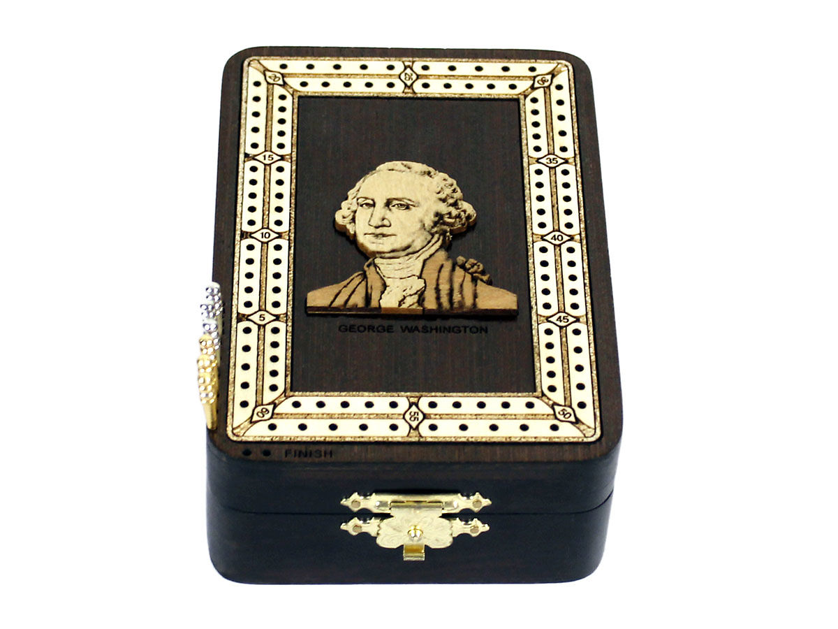 Side view of George Washington image inlaid board with pegs