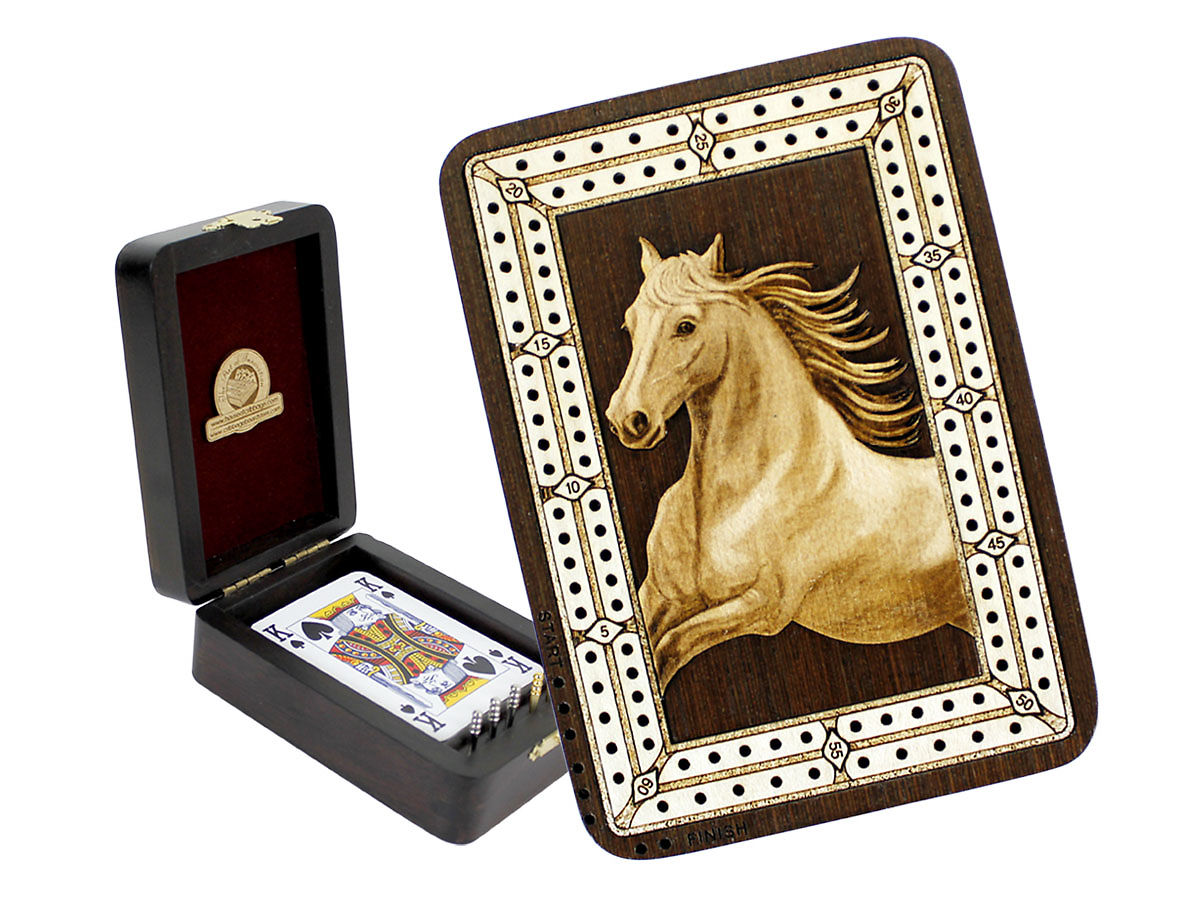 Horse Figure Image Inlaid Folding Cribbage Board / Box with card storage