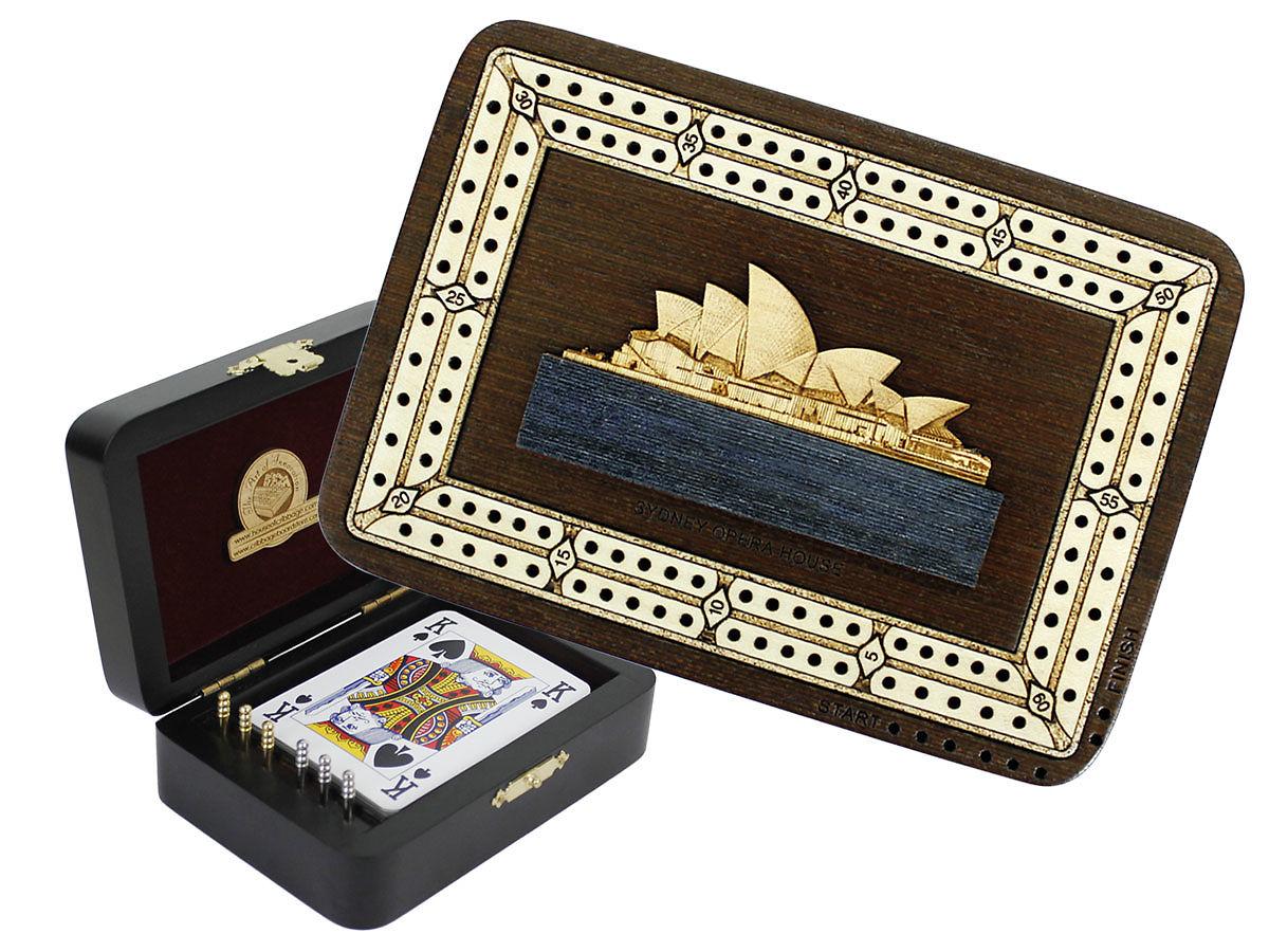Sydney Opera House Image Inlaid Folding Cribbage Board / Box with card storage
