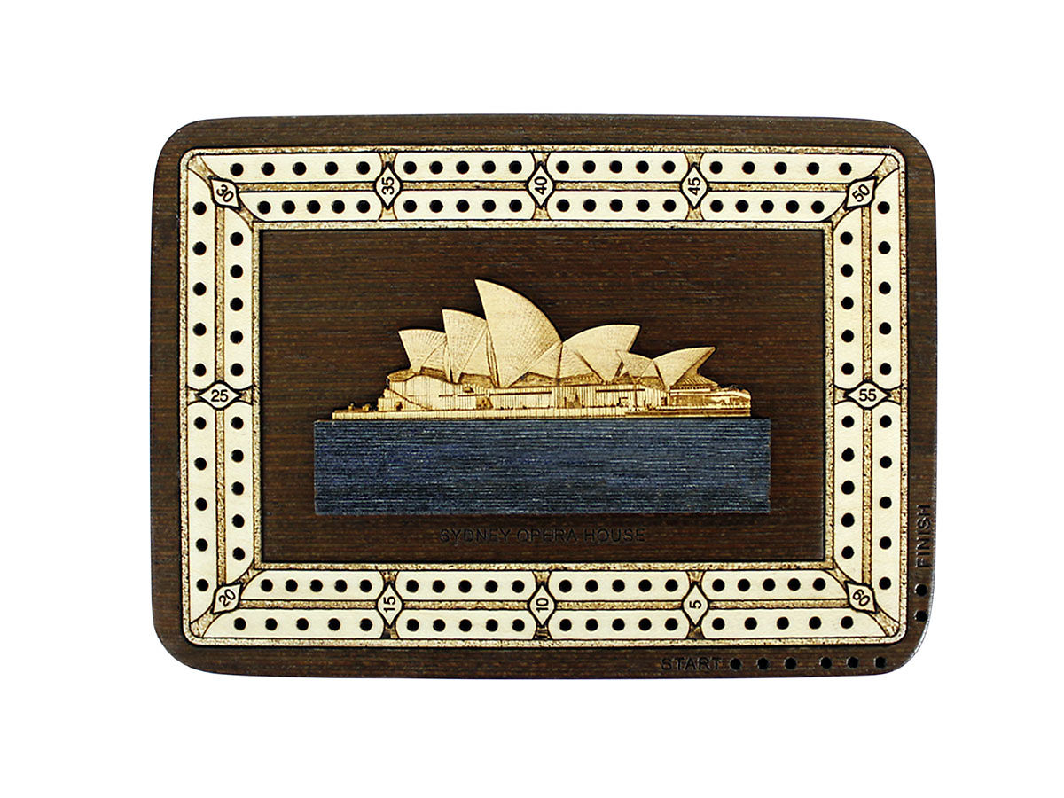 Top view of Sydney Opera House image inlaid board with tracks