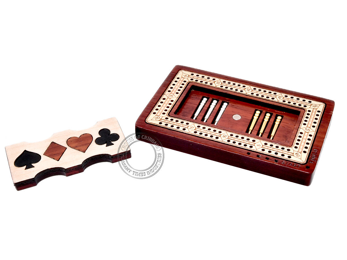 Cribbage Board Inside view with pegs
