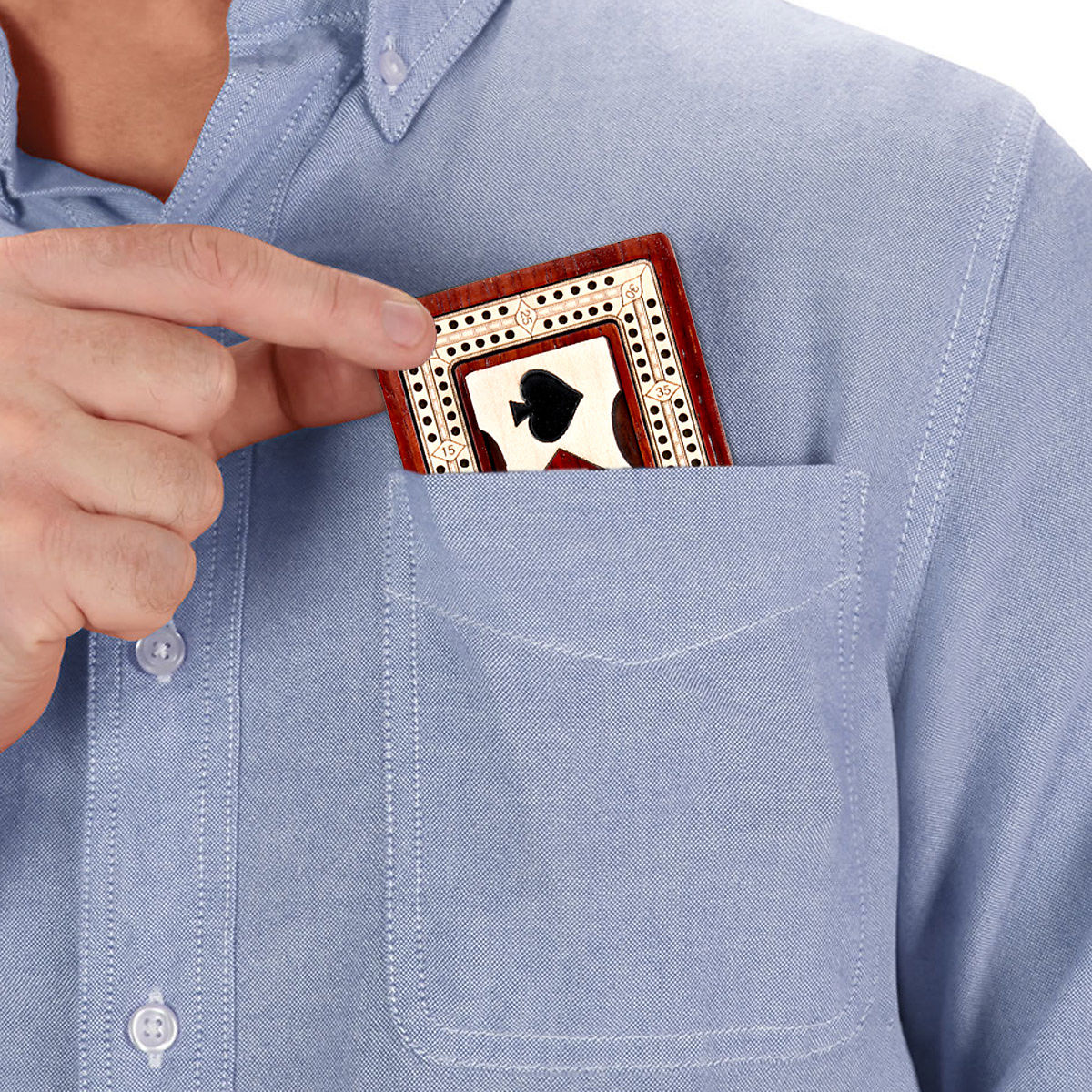 Cribbage board easily fits in shirt pocket