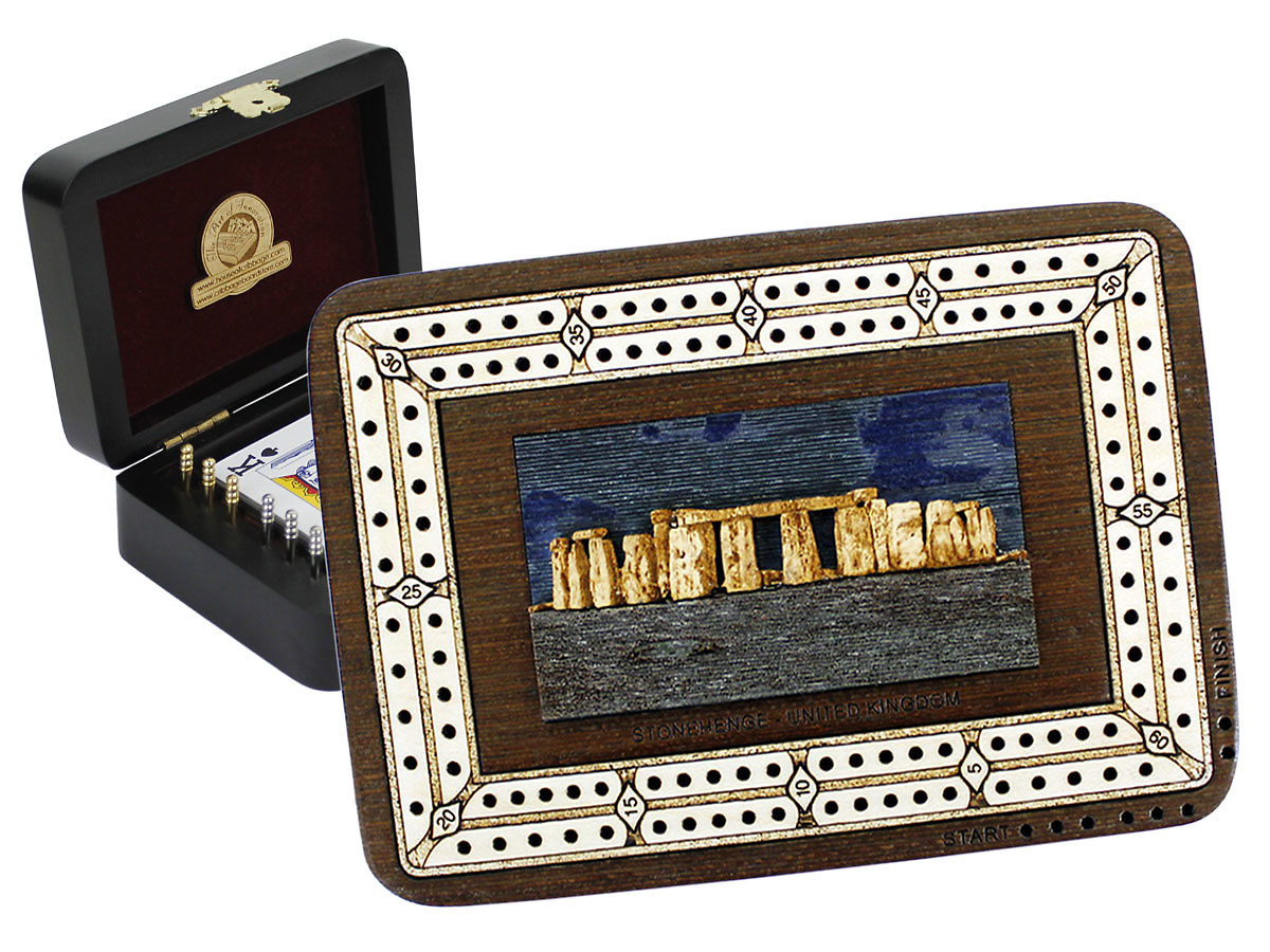 Stonehenge Image Inlaid Folding Cribbage Board / Box with card storage