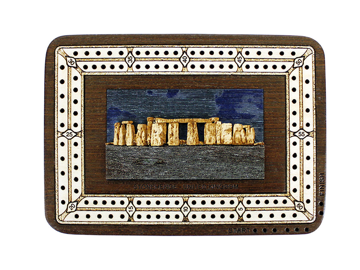 Top view of Stonehenge image inlaid board with tracks