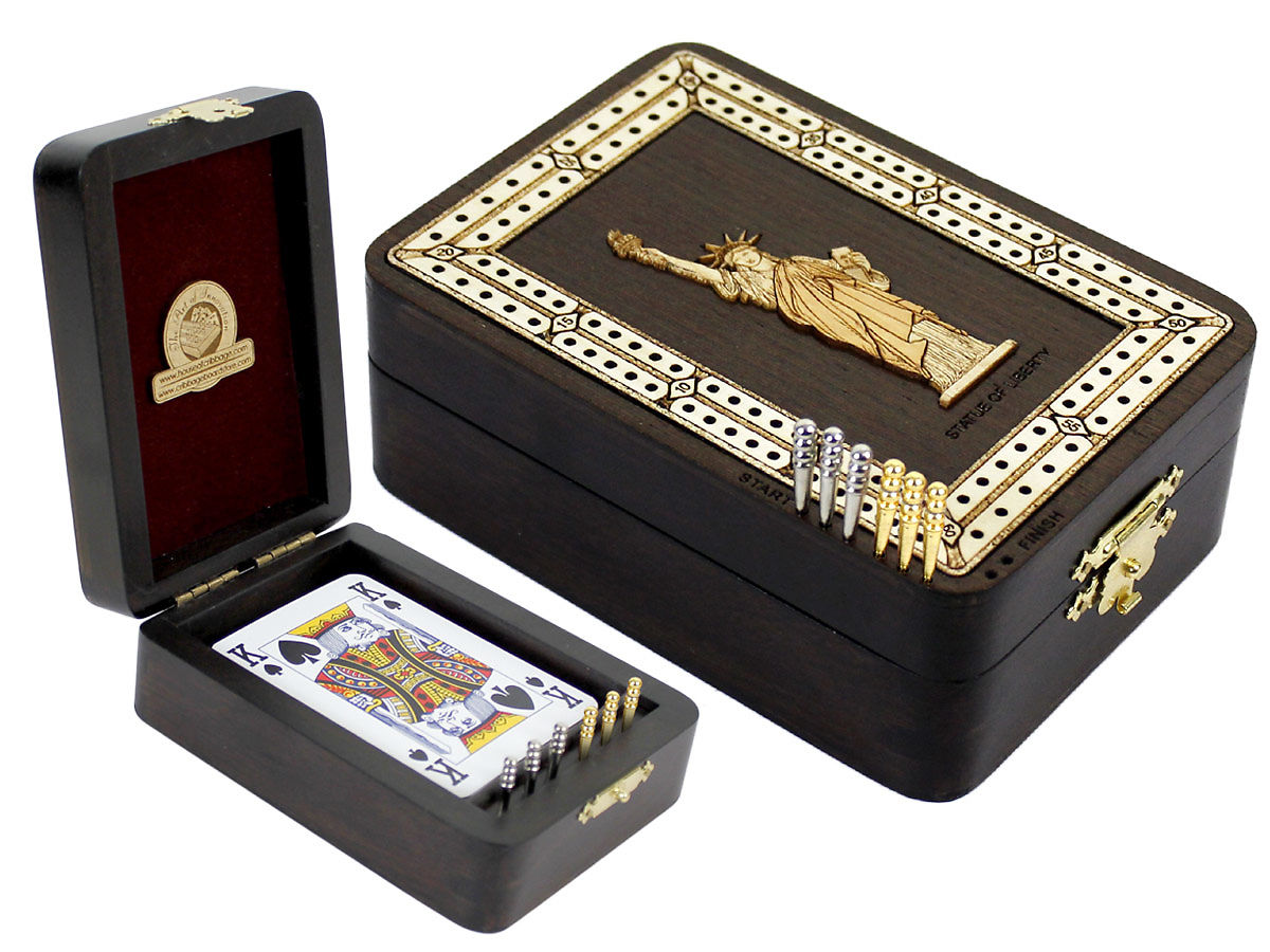 Statue of Liberty Image Inlaid Folding Cribbage Board / Box with card storage