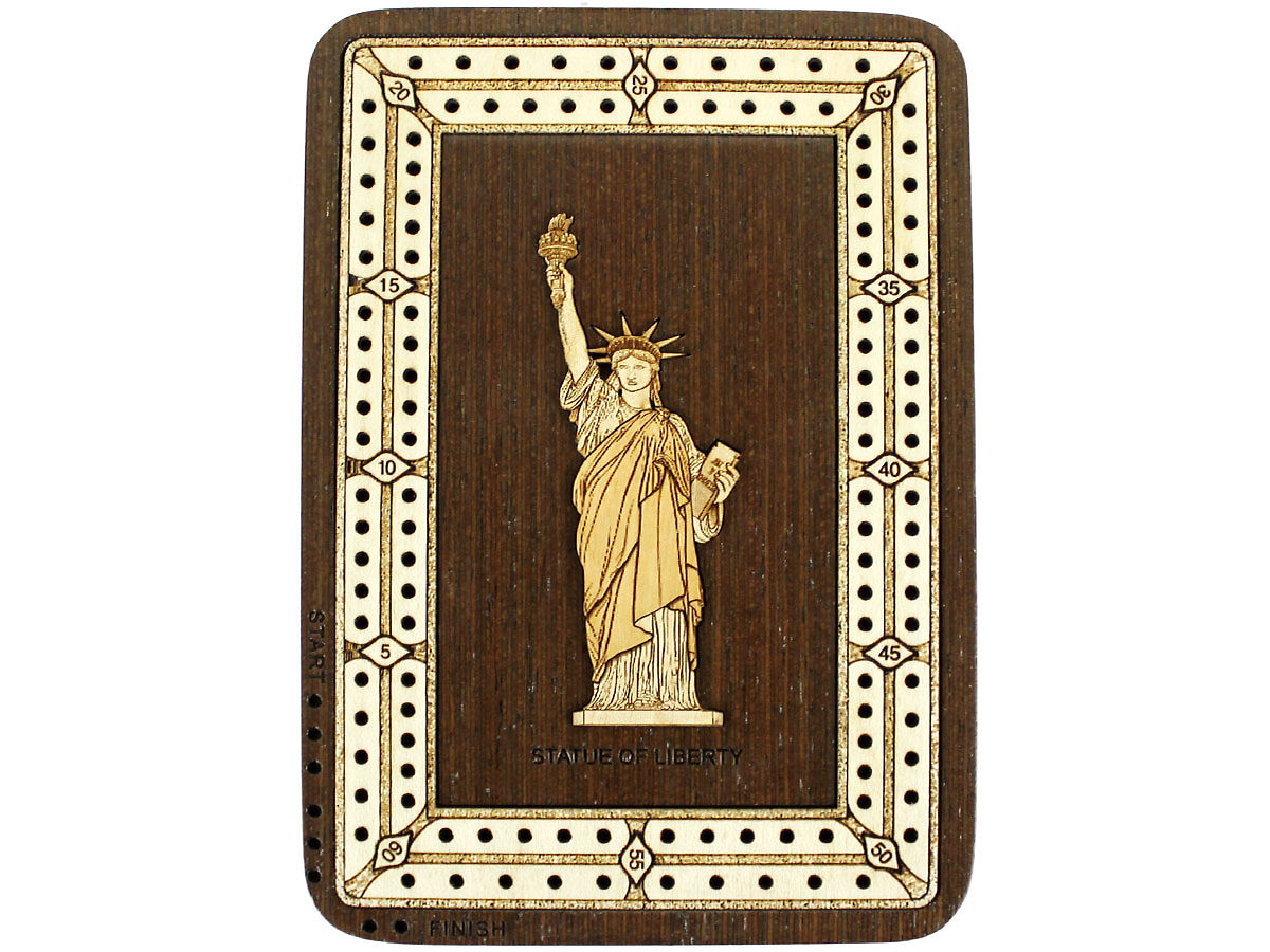 Top view of Statue of Liberty image inlaid board with tracks