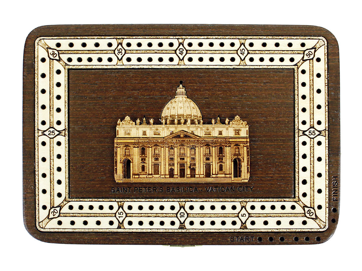 Top view of Saint Peters Basilica image inlaid board with tracks